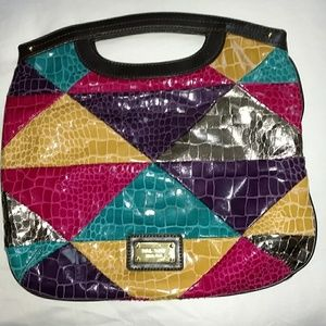 VTG 80s Colorful Alligator Patchwork Bag
